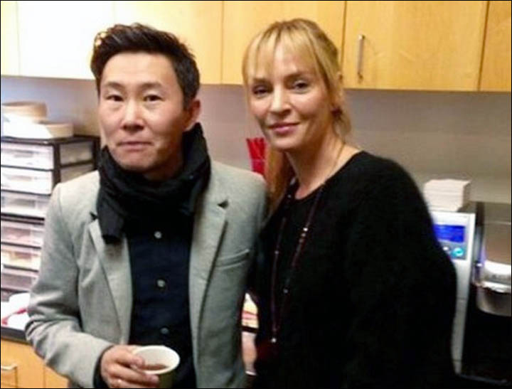 Zorikto Dorzhiev with Uma Thurman