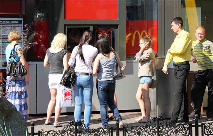 McDonalds comes to town but Burger King is already here in Novosibirsk.