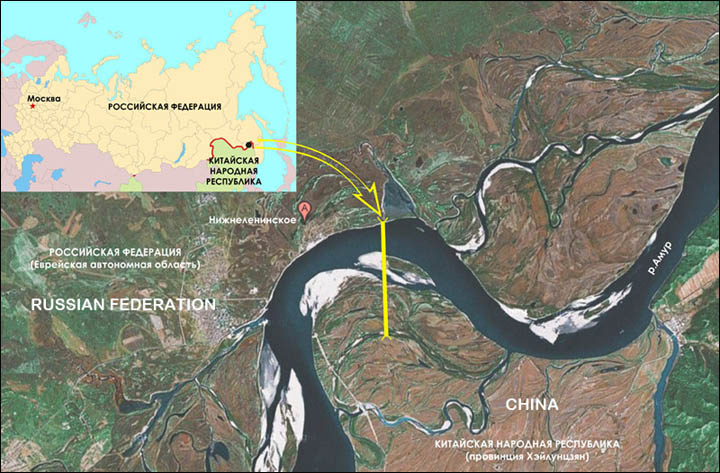 Map of the project of the bridge across Amur