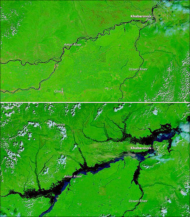 Aerial pictures of flooded Amur river, years 2008 and 2013