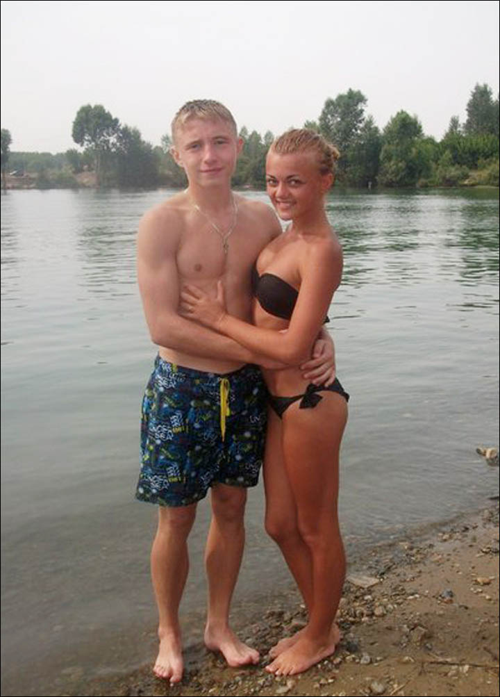 Couple on the beach in Kemerovo