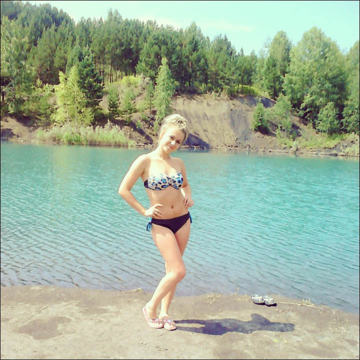 Girl on the beach in Kemerovo