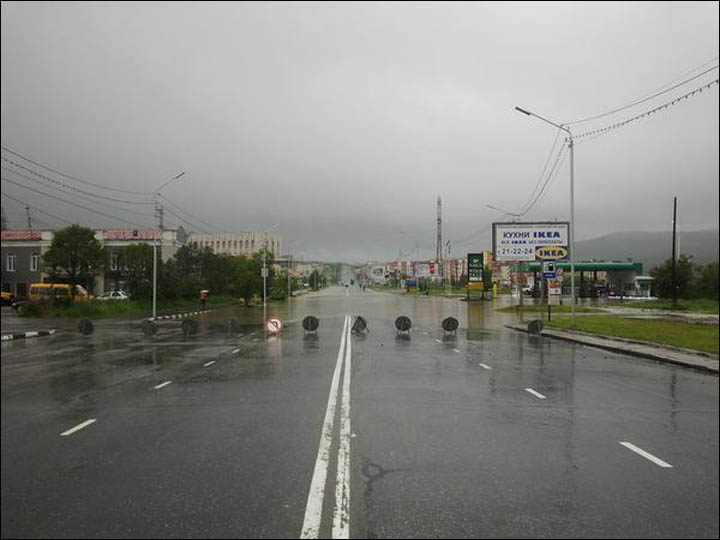Road closed in flooded Magadan