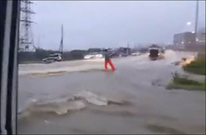 Surfing in flooded Magadan