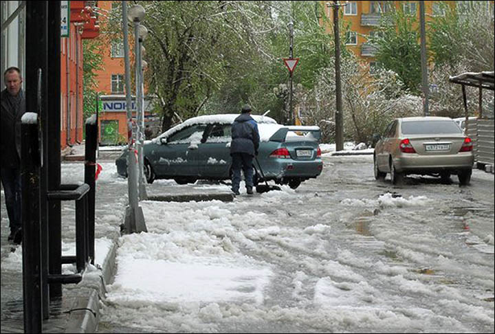 snow in May in Siberia