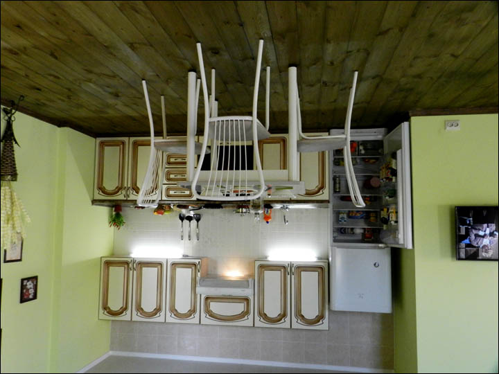 Kitchen in upside down house in Omsk