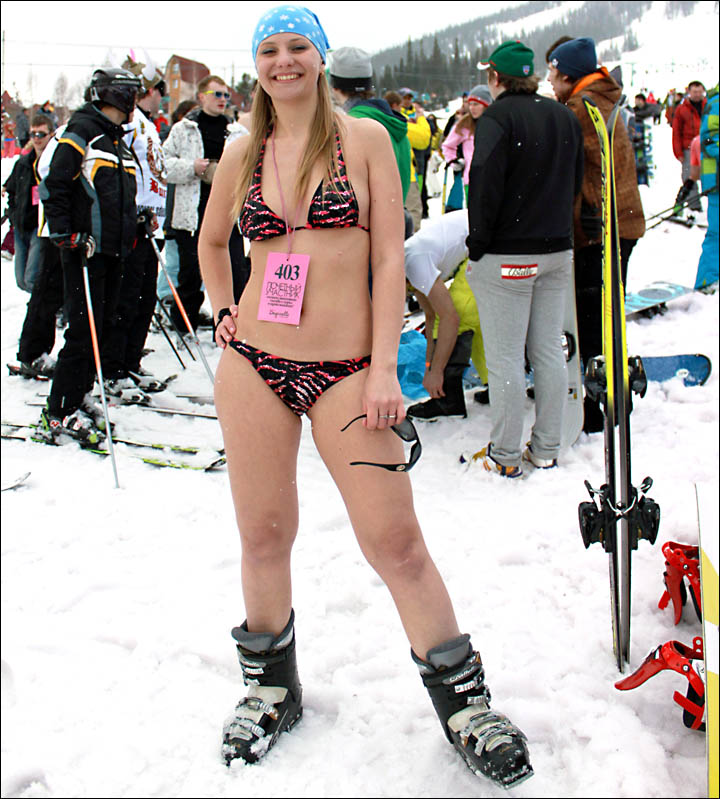 World's biggest bikini ski ride Siberia Sheregesh