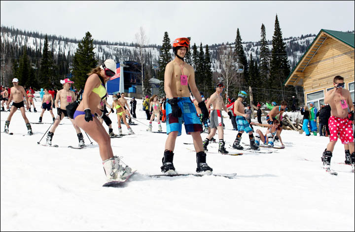 World biggest ski bikini ride Sheregesh Siberia