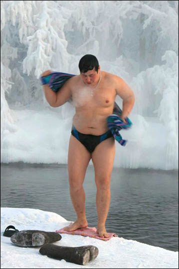 A brave swimmer peels off for a dip in an icy pool in Oymyakon, the coldest inhabited settlement in the world.