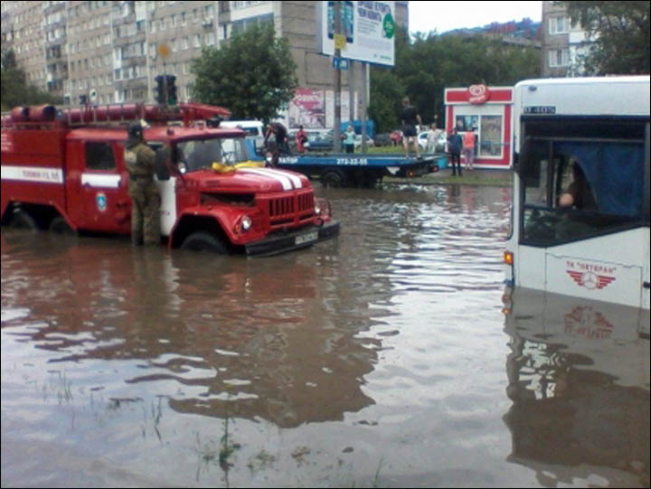Flooded roads in Krasnoyarsk
