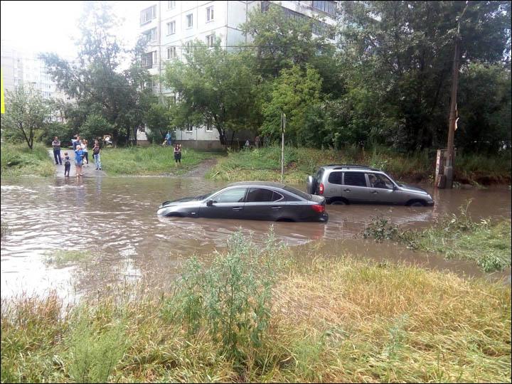 Flooded roads in Krasnoyarsk
