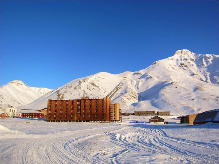 This old mining outpost, called Pyramid and abandoned in 1998, is on the Arctic Ocean island of Spitsbergen.