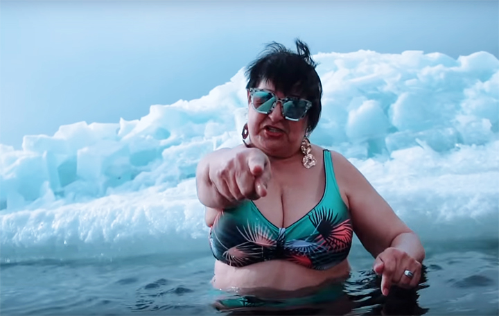 Siberian grandmother hailed the Queen of Flex for reading rap in freezing waters of Lake Baikal
