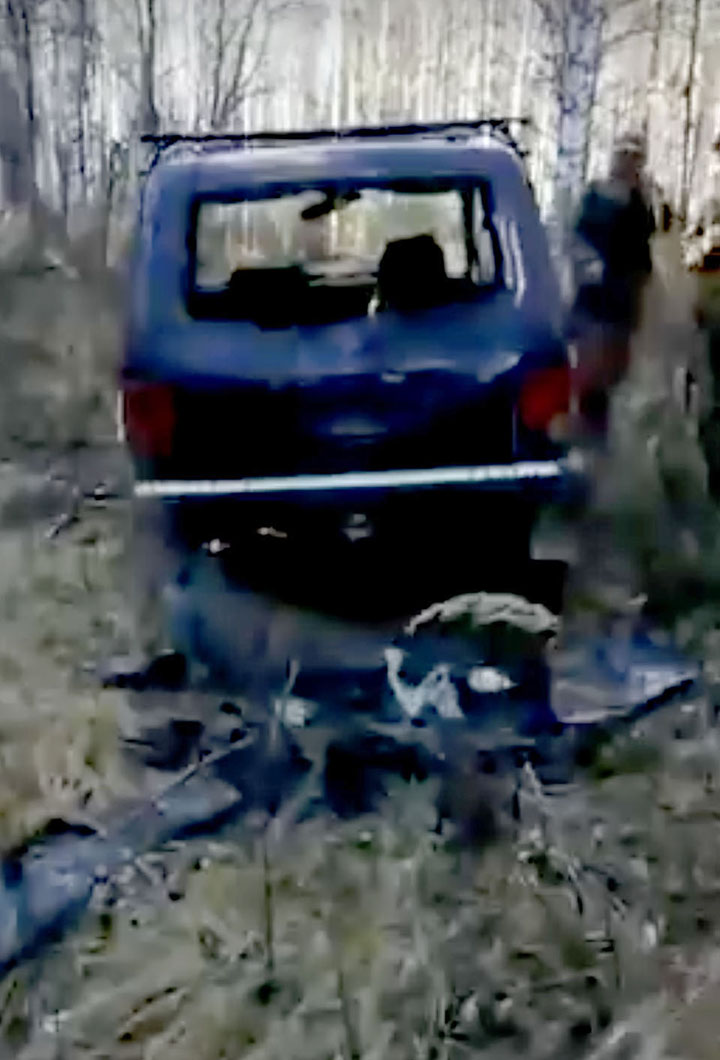 A brown bear finds and rips hunters car