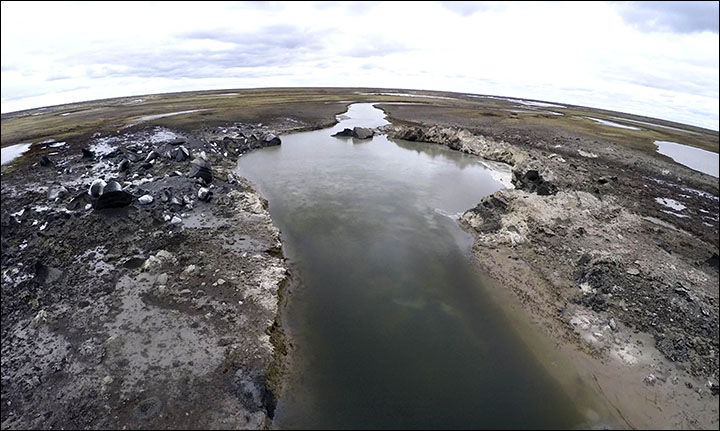 Video shows methane leaking from beneath an Arctic river after spectacular eruption