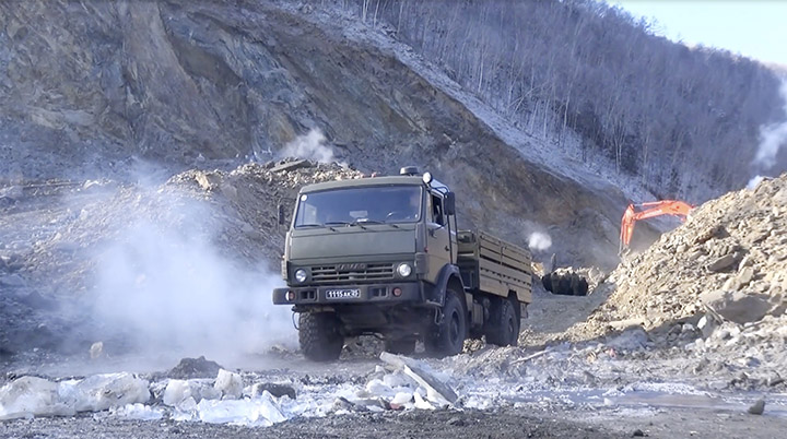 Military clean the landslide