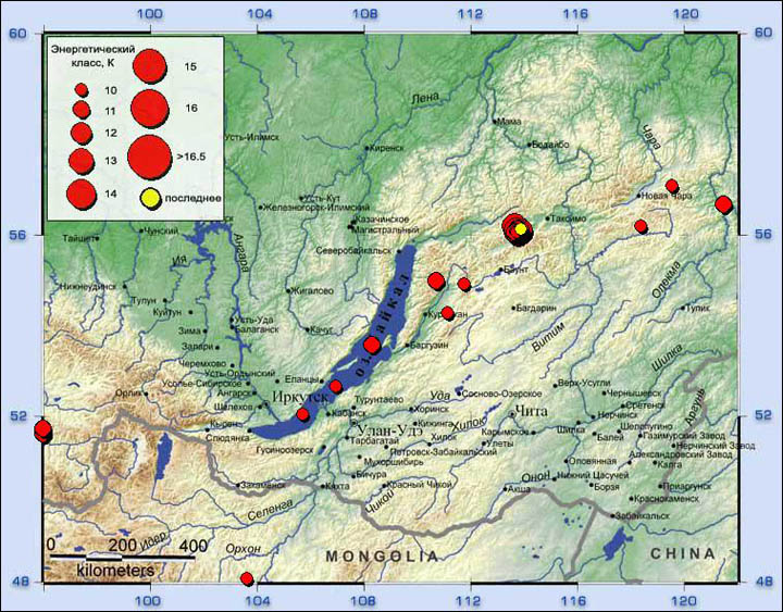 Map of earthquakes 2015