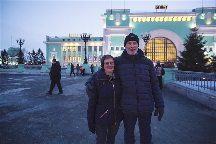 Derek and Chris at the Novosibirsk Railway Station
