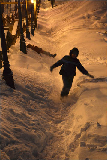 When the temperature dips to minus 30C in Tobolsk, kids are allowed a day off school.