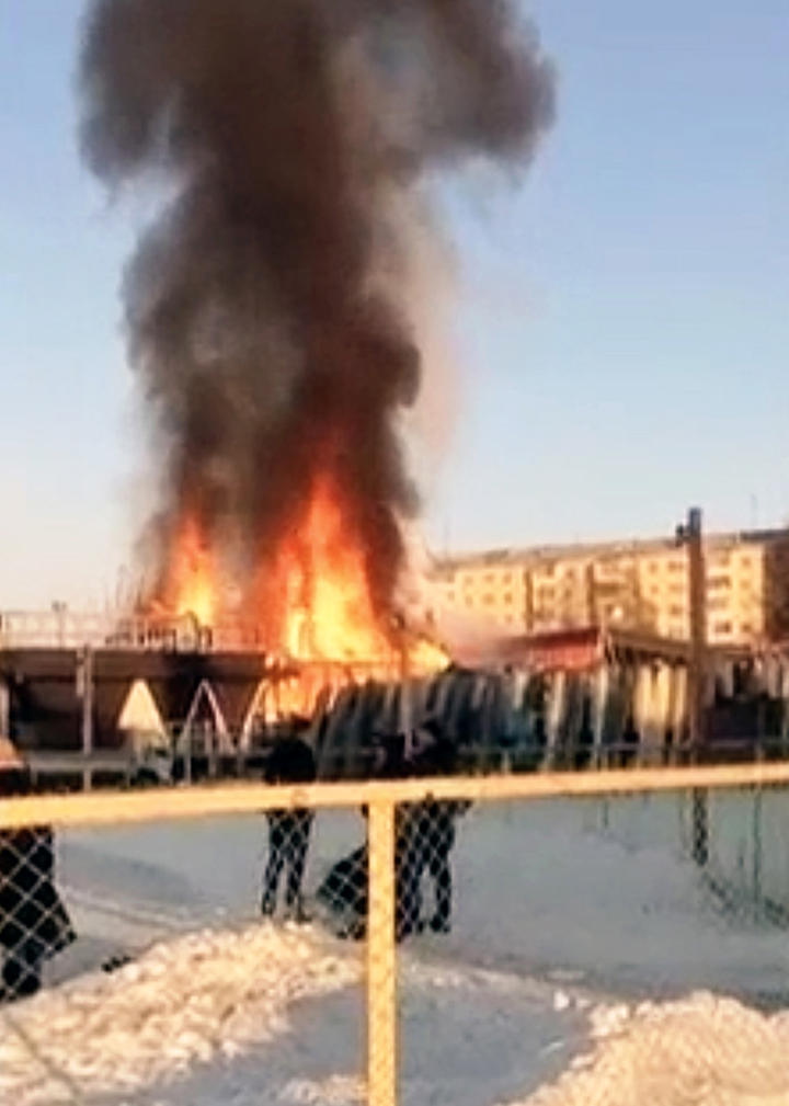 Horror as children's ice playground  goes up in flames