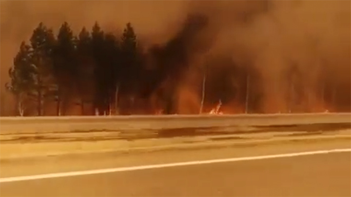 Fire on Angarsk motorway