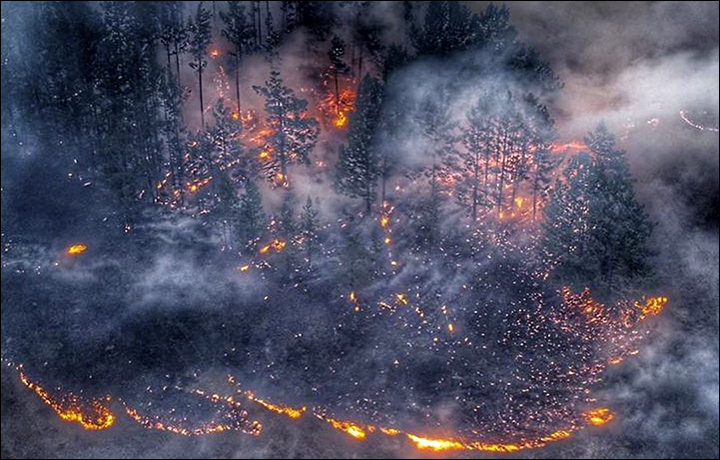 Wildfires around Irkutsk
