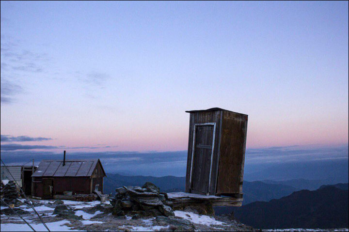 Highest weather station in Siberia....with a toilet teetering on cliff edge