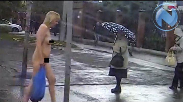 Removed naked woman walking down the street think