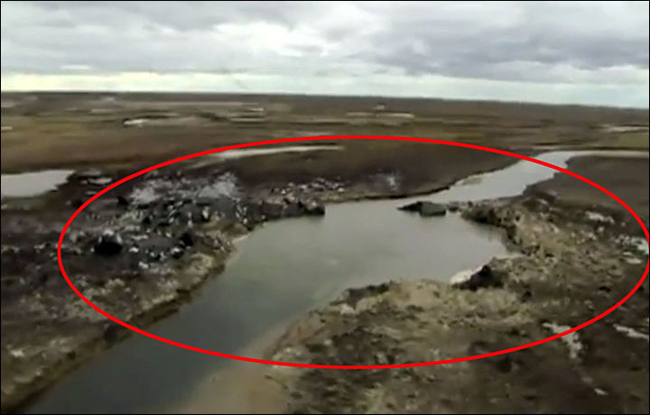 Pipes are built over bulging and unstable Arctic pingos prone to violent eruptions caused by 'thawing methane gas', as seen twice on the Yamal peninsula this year.