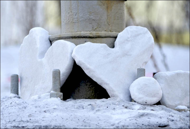 Heart-shaped pieces of snow