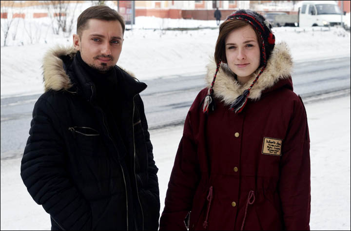 Boy and girl on Norilsk street