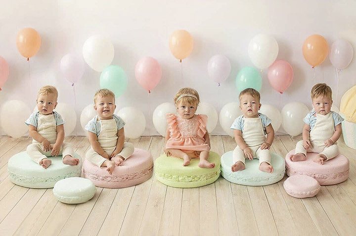 Quintuplets celebrate their first birthday