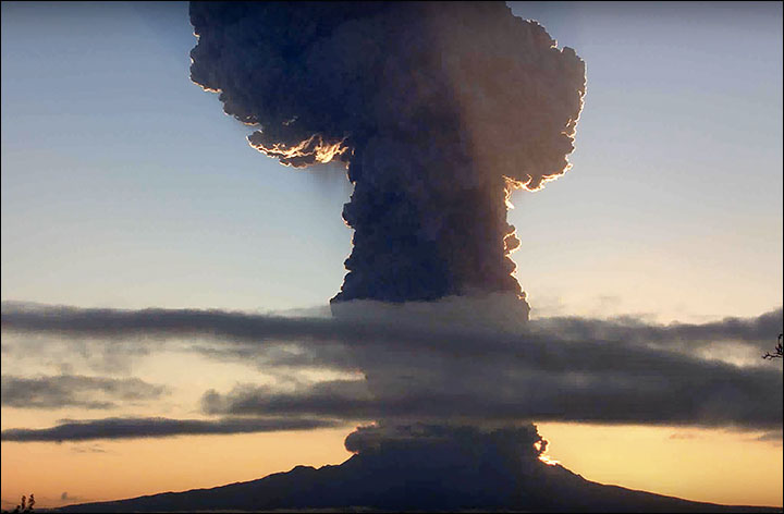 It's raining ash - volcano eruption forces children to stay indoors in Kluchi village