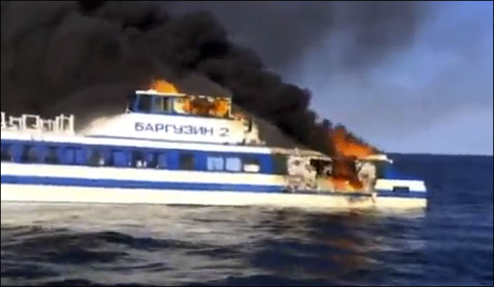 Ship burned on Baikal