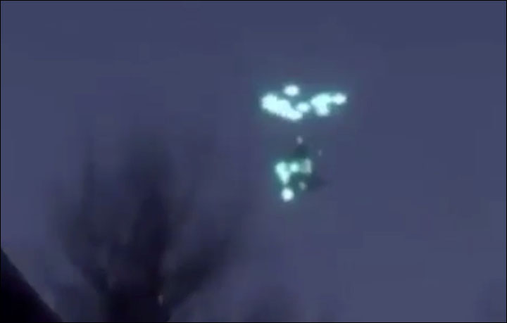 Bizarre diamond-shaped 'UFO' swallows another unidentified flying object in the night sky