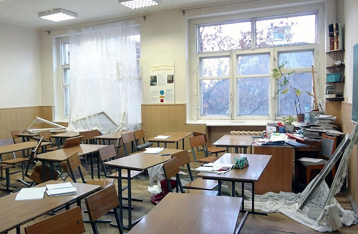 School room destroyed by explosion wave