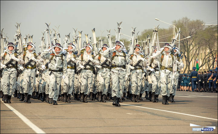 Victory Day parade in Blagoveshchensk