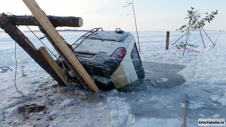 Car fell through the ice