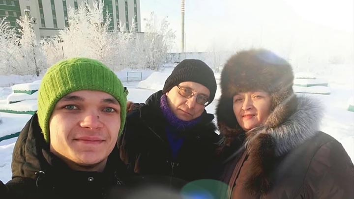Oles with hermit's brother Anatoly and his wife