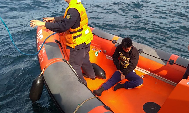 Miracle rescue of a North Korean man who floated in the sea on two pieces of foam plastic