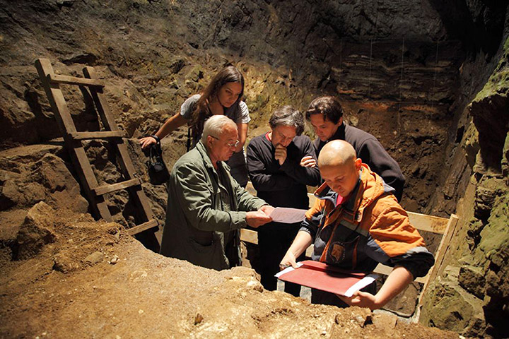 Scientists at the Denisova Cave