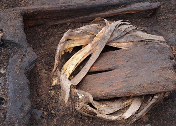 Pot wrapped in birch bark