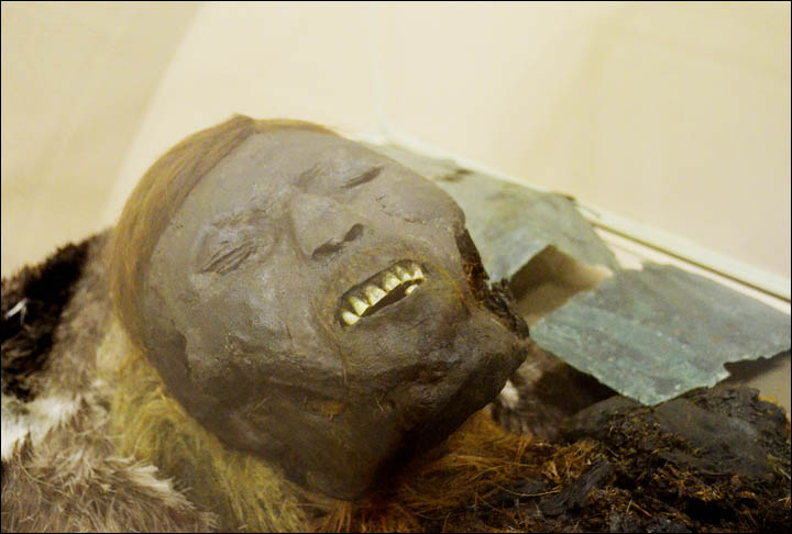 Face of mummified adult man