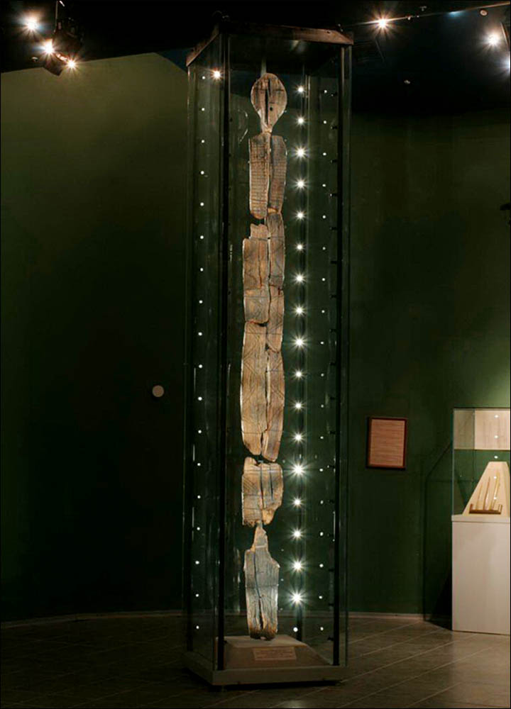 Shigir Idol on museum exhibition