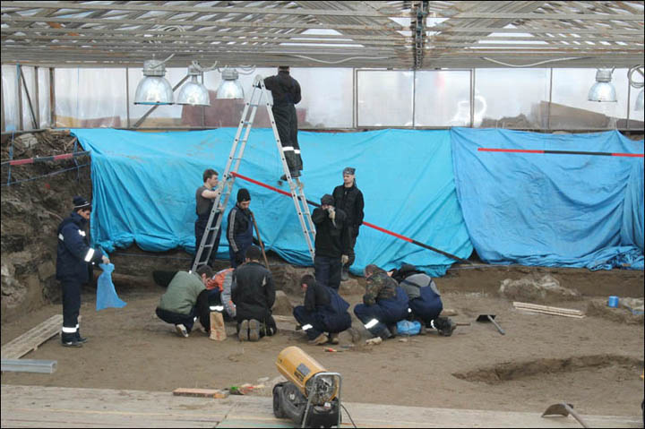 Archaeologists working on the site