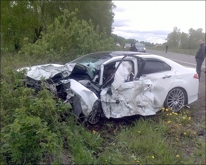 Smashed car of Nikolay Khrenkov