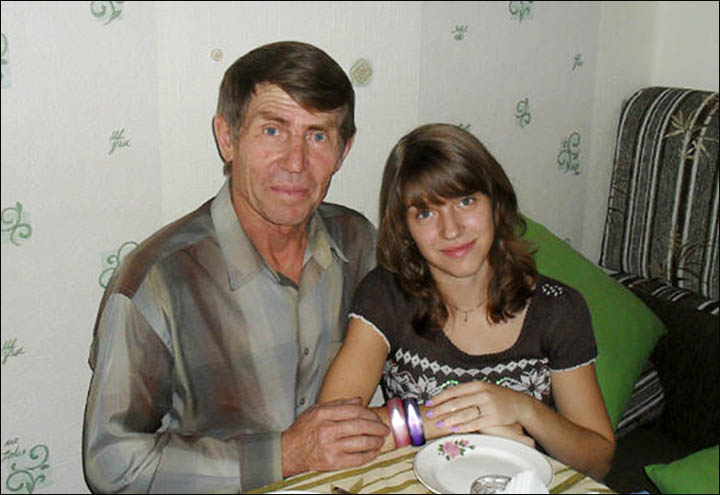 Vtalina and her granddad Mikhail