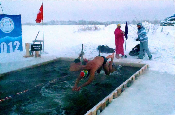 Ice swimming in Tyumen, Siberia, by Ram Barkai