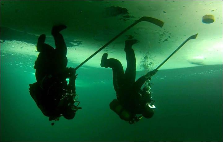 Image result for underwater upside down hockey