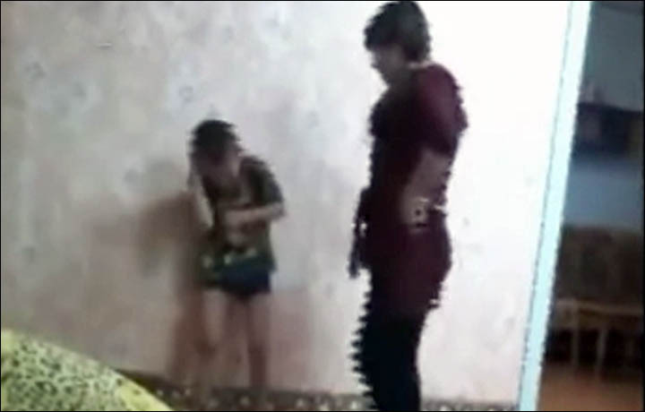 Little blonde mistreated and seduced by a evil lady 6